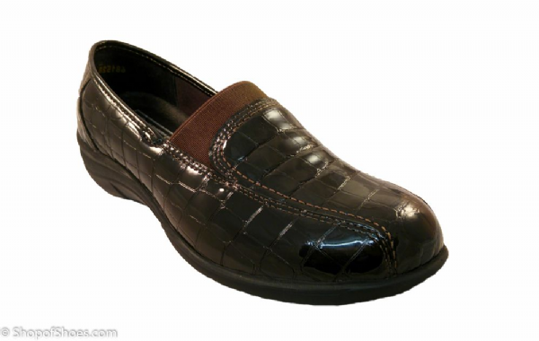 Orleans smart feminine croc patent deep brown leather wide fit Orthotic Shoe E-3E